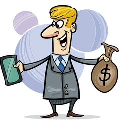 businessman with tablet and money vector image