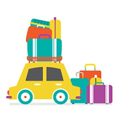 Cars side view with heap of luggages vector