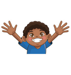 cartoon cute african boy cheerful image vector image