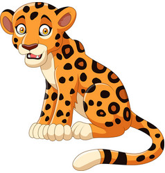 Cartoon leopard isolated on white background vector