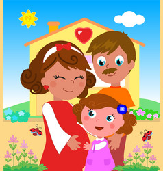 cartoon pregnant woman with daughter and husband vector image