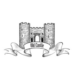 castle logo retro label vector image