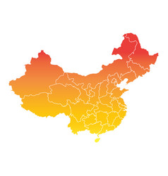 China map colorful orange on white background vector