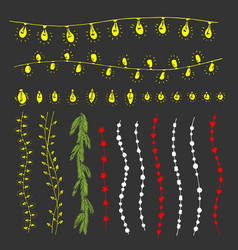 christmas garlands lamps floral elements vector image