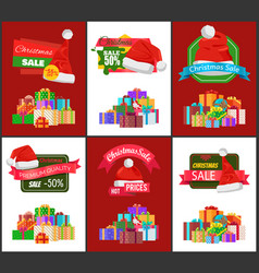 christmas sale advertisement banner with presents vector image