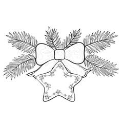 christmas star contours vector image