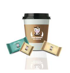 coffee cup and chocolates realistic set mock up vector image