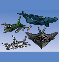 collection full color modern military aircraft vector image