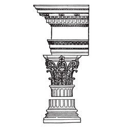 Corinthian order common amonth the romans vintage vector