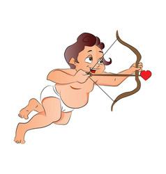 Cupid shooting a love arrow vector