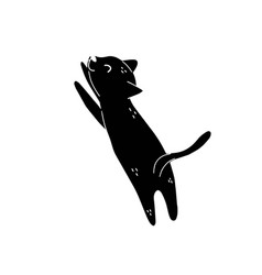 cute black cat stretching isolated element feline vector image