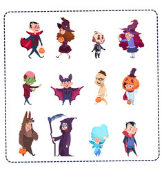 Cute kids wear monsters costumes set halloween vector