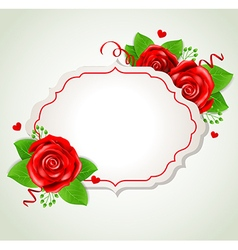 Decorative romantic banner with red roses vector