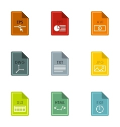 Documents icons set flat style vector
