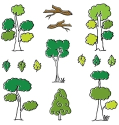 Doodle of tree set different collection vector image