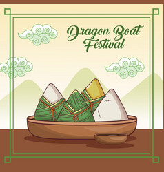 Dragon boat festival cartoon design vector