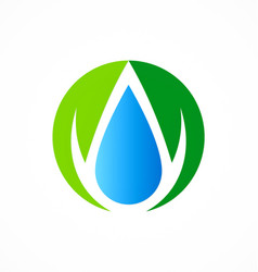 Ecology abstract droplet water logo vector