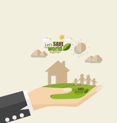 Ecology concept Paper cut of family vector image