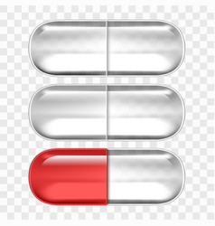 empty pills capsules isolated on transparent back vector image