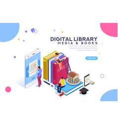 Encyclopedia media and book library vector