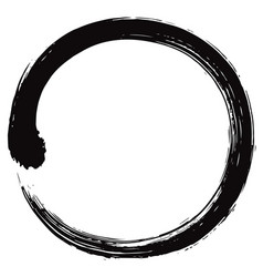 Enso japanese zen circle brush vector