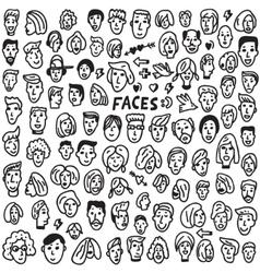faces - doodles set vector image