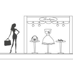 Fashion girl shopping doodle vector