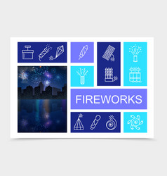 festive fireworks bright composition vector image