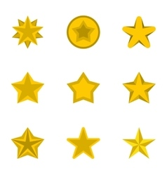 Figure star icons set flat style vector