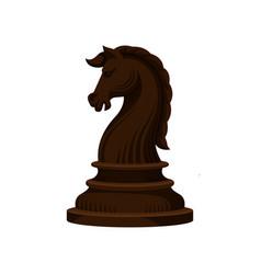 Flat icon of dark brown wooden chess piece vector