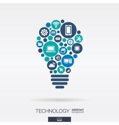 Flat icons in idea bulb shape technology cloud vector