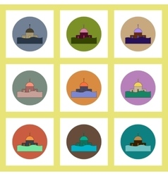 Flat icons set of building that has been flooded vector