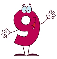 funny cartoon numbers-9 vector image