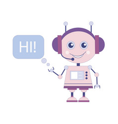 funny smiling robot chat bot say hi vector image