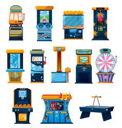 Game machines icons cartoon attractions set vector