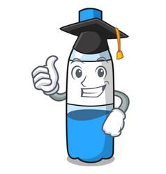 Graduation water bottle character cartoon vector