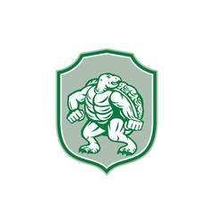 Green Turtle Fighter Mascot Shield Retro vector