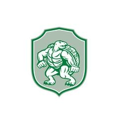 green turtle fighter mascot shield retro vector image