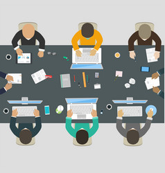 group of business people working for office desk vector image