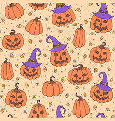 Halloween pattern with candies pumpkins hats vector