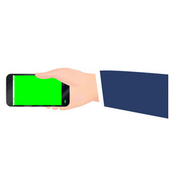 hand holding smartphone with green screen vector image