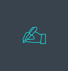 handwriting concept blue line icon simple thin vector image