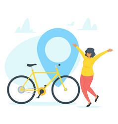 Happy bicycle owner vector