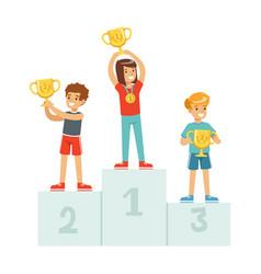 Happy children standing on the winner podium with vector