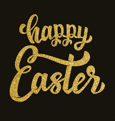 Happy easter hand drawn lettering phrase in vector