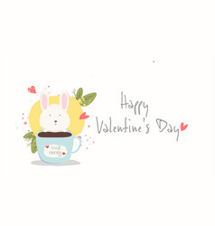happy valentine daylovely rabbit is in the cup vector image