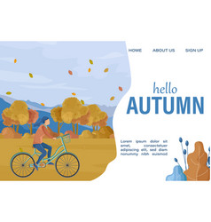 hello autumn woman on bicycle flat style vector image