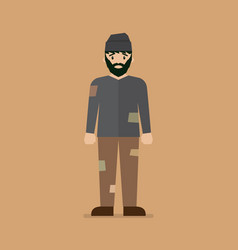 Homeless man character vector