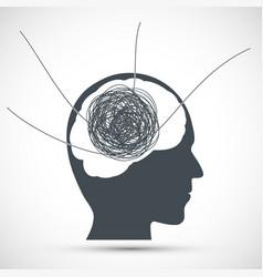 Human head with a tangled ball thread vector