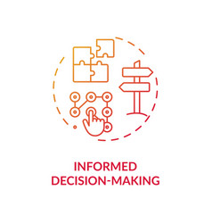 informed decision making red gradient concept icon vector image